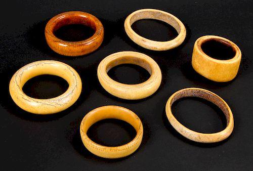 7 Assorted Small Antique Bangles, Nigeria