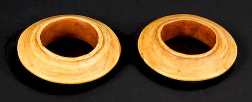 Pair of Antique Disk-Shaped Dinka Bracelets, Sudan
