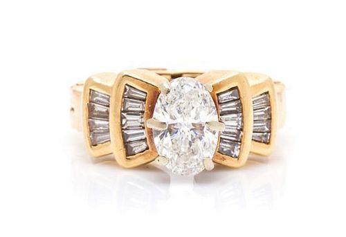 A 14 Karat Yellow Gold and Diamond Ring, 6.20 dwts.