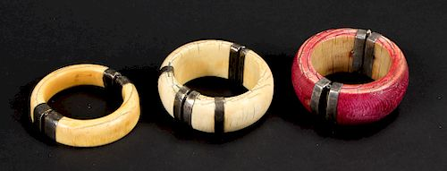 3 Assorted Antique Dowry Bangles, India
