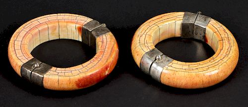 Matched Pair of Antique Ivory Bracelets, India