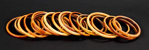 21 Antique Wide Diameter Bangles, Nigeria
