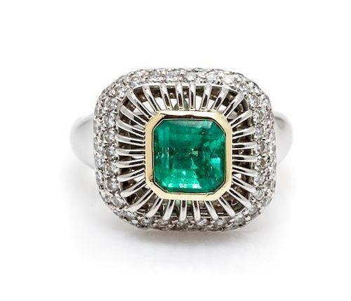 A Platinum, 18 Karat Yellow Gold, Emerald and Diamond Ring, Michael B, 10.80 dwts.