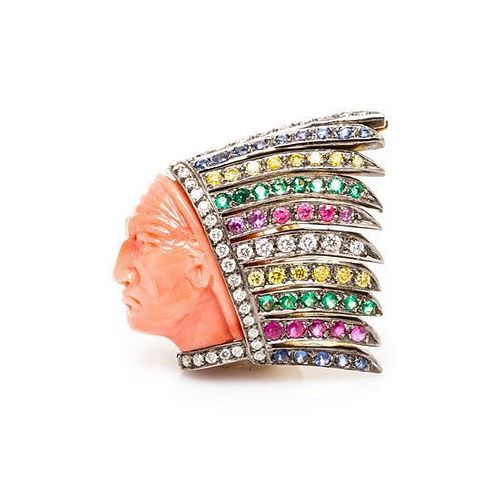 * An 18 Karat Gold, Diamond, Coral and Multi Gem Brooch, Michele della Valle, 5.80 dwts.