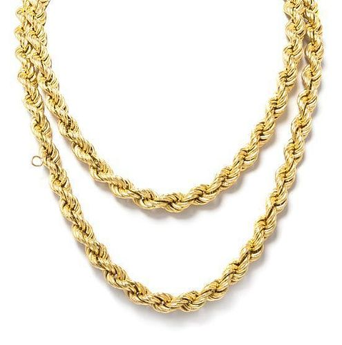 * A 14 Karat Yellow Gold Rope Chain Necklace, 41.45 dwts.