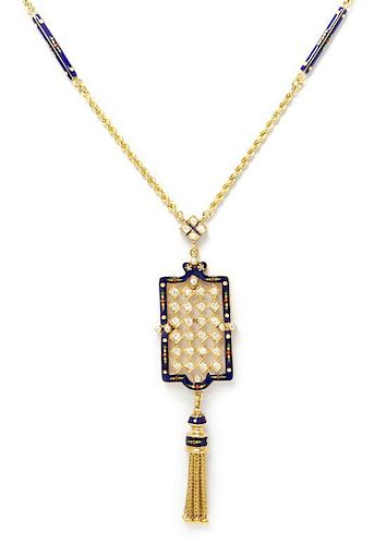 A Yellow Gold, Polychrome Enamel and Diamond Lavalier Necklace, 19.50 dwts.