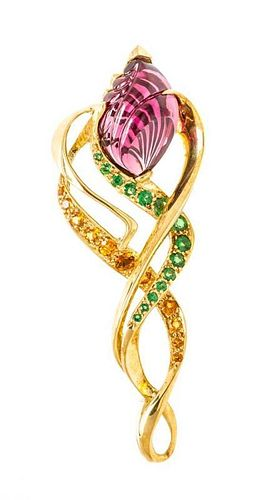 * An 18 Karat Yellow Gold, Amethyst, Peridot and Yellow Sapphire Brooch, 18.50 dwts.