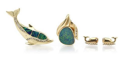 A Collection of Yellow Gold, Opal and Diamond Jewelry, 18.50 dwts.