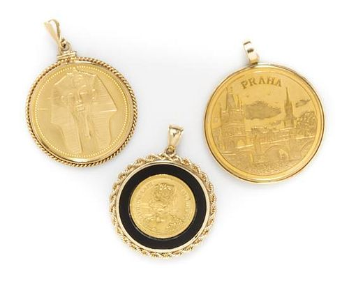 A Collection of Yellow Gold Coin Pendants, 37.50 dwts.