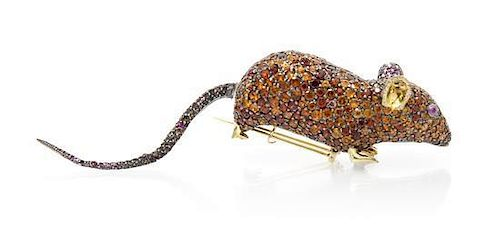 "* A Silver Topped Yellow Gold, Multi Gem ""Sorcio"" Mouse Brooch, Andrea Molinari, 44.00 dwts."