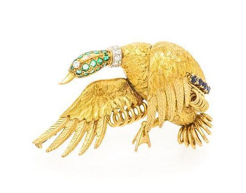 * An 18 Karat Yellow Gold, Emerald, Sapphire and Diamond Mallard Brooch, Hermes Paris, 12.30 dwts.