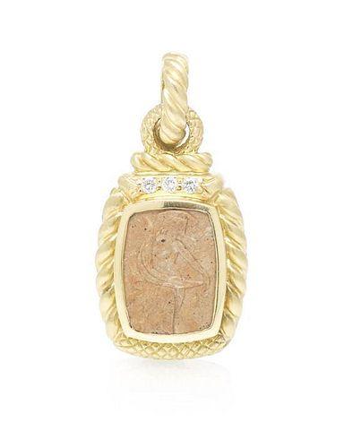 An 18 Karat Yellow Gold, Diamond and Hardstone Cameo Pendant, Judith Ripka, 14.40 dwts.