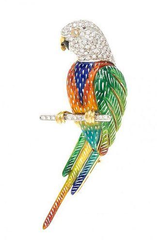 * An 18 Karat Gold, Diamond and Polychrome Enamel Parrot Brooch, Leo Pizzo, 13.40 dwts.