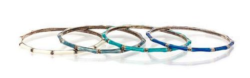A Collection of Sterling Silver and Enamel Bangle Bracelets, Hidalgo, 36.00 dwts.