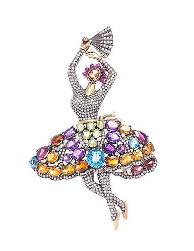 * A Silver Topped Yellow Gold, Diamond and Multi Gem Ballerina Pendant/Brooch, 21.70 dwts.