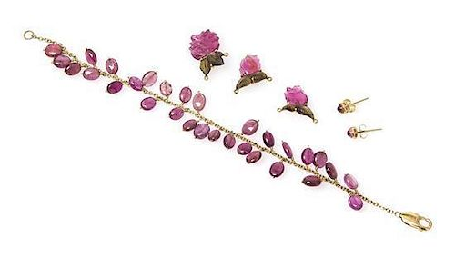 * A Collection of Yellow Gold and Pink Tourmaline Jewelry, 10.70 dwts.