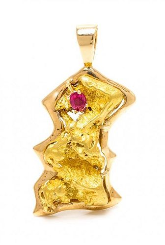 * A 14 Karat Yellow Gold, Gold Nugget and Ruby Pendant, 34.90 dwts.