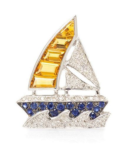 * An 18 Karat White Gold, Citrine, Sapphire and Diamond Sailboat Brooch, 4.00 dwts.