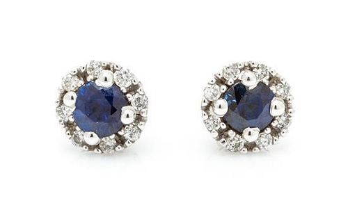 A Collection of 14 Karat White Gold, Sapphire and Diamond Jewelry, 2.20 dwts.