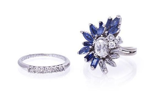 A Collection of 14 Karat White, Diamond and Sapphire Rings, 5.80 dwts.