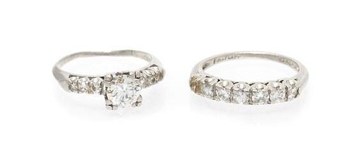 A Collection of Platinum and Diamond Rings, 4.80 dwts.