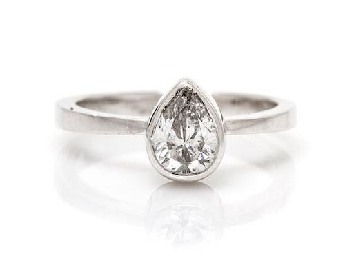 A 14 Karat White Gold and Diamond Solitaire Ring, 1.90 dwts.