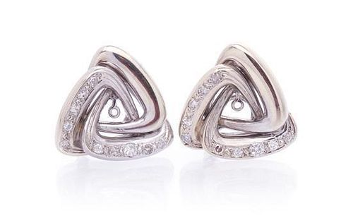A Pair of White Gold and Diamond Earclip Earring Jackets, 10.60 dwts.