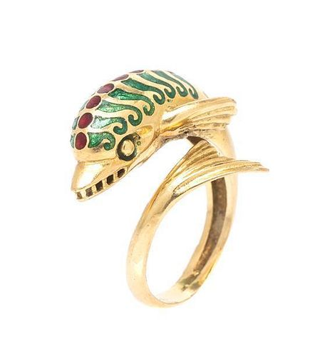 * An 18 Karat Yellow Gold and Polychrome Enamel Sea Creature Ring, 3.80 dwts.