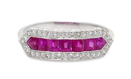A Platinum, Ruby and Diamond Ring, 1.50 dwts.