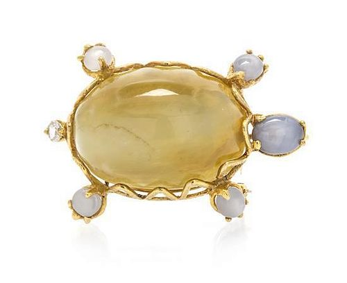 * A Yellow Gold, Chrysoberyl Cat's Eye, Star Sapphire and Diamond Turtle Pendant/Brooch, 15.30 dwts.