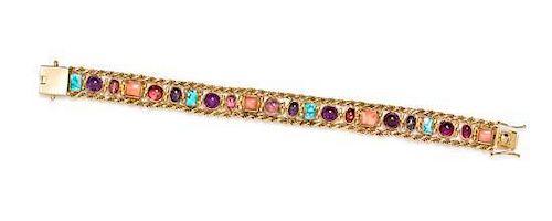A 14 Karat Yellow Gold and Multi Gem Bracelet, 14.70 dwts.