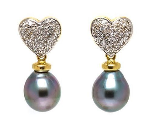 A Pair of Yellow Gold, Diamond and Cultured South Sea Pearl Earrings, 5.80 dwts.