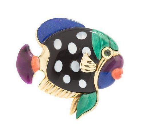 * A 14 Karat Yellow Gold and Multi Gem Fish Pendant/Brooch, 11.40 dwts.