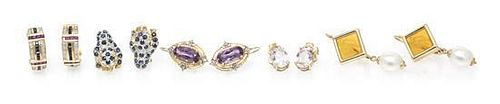 A Group of Gold and Gemstone Earrings, 20.10 dwts.