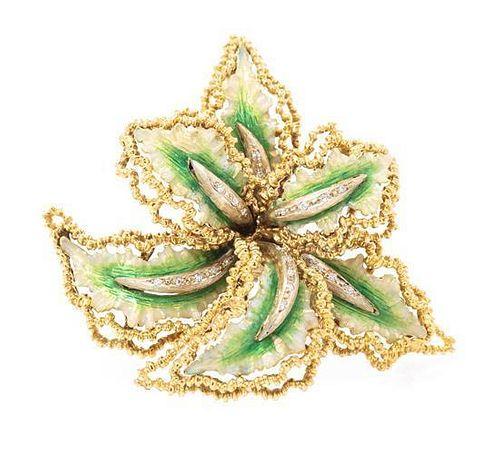 * An 18 Karat Yellow Gold, Diamond and Polychrome Flower Brooch, 22.70 dwts.