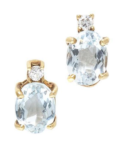 A Pair of 14 Karat Yellow Gold, Aquamarine and Diamond Earrings, 1.40 dwts.