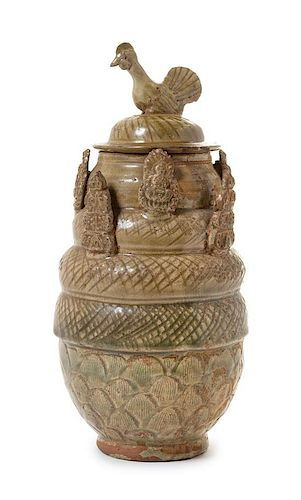 * A Chinese Yueyao Green Glazed Pottery Funerary Jar and Cover, Hunping Height 13 inches.