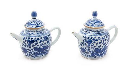 A Pair of Chinese Blue and White Porcelain Teapots Height 5 1/2 inches.