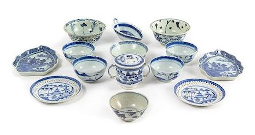 Fourteen Chinese Export Blue and White Porcelian Articles Length of the largest 7 3/4 inches.