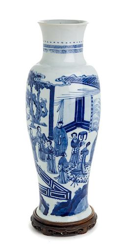 A Chinese Blue and White Porcelain Vase Height 17 3/4 inches.