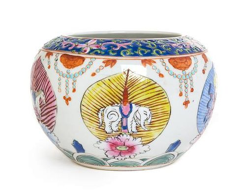 A Small Chinese Famille Rose Porcelain Jar Diameter 5 inches.