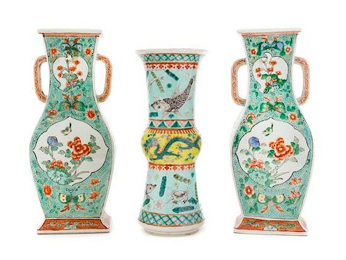 Three Chinese Famille Verte Porcelain Vases Height of tallest 11 3/4 inches.