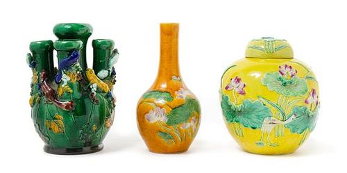 Three Chinese Fahua Porcelain Articles Height of the tallest 8 1/4 inches.