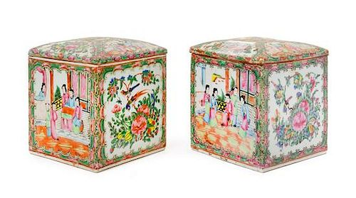 Two Chinese Rose Medallion Covered Jars Height of each 6 3/4 inches.