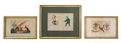 Three Chinese Export Pith Paintings Largest image 5 7/8 x 4 3/4.