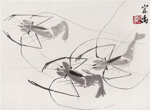 * A Chinese Ink on Paper Painting, 20TH CENTURY, Three Shrimps