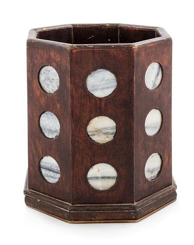 A Large Chinese Marble Inset Hardwood Brushpot Height 11 3/4 inches.