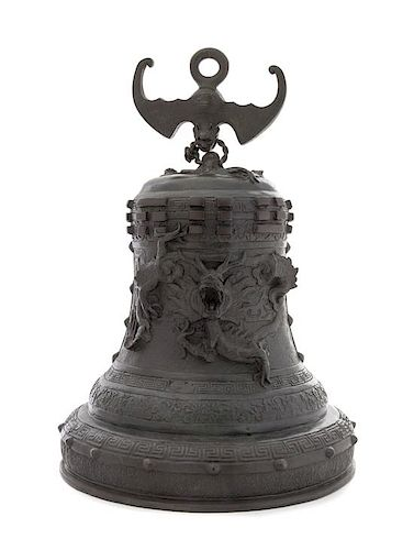 A Chinese Bronze Bell Height 15 inches.