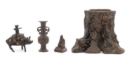 Four Chinese Bronze Articles Height of tallest 6 1/4 inches.