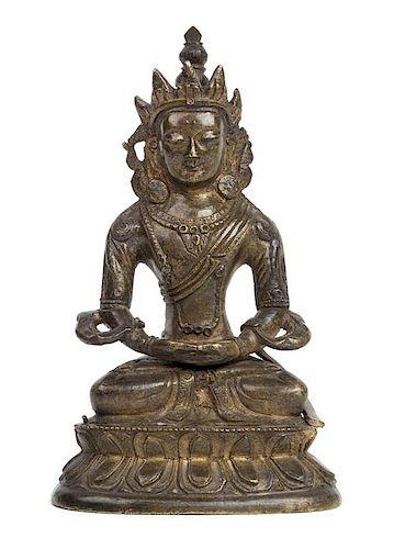 A Sinot-Tibetan Bronze Figure of Amida Buddha Height 6 1/2 inches.